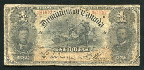 DC-13c 1898 $1 ONE DOLLAR THE DOMINION OF CANADA BANKNOTE