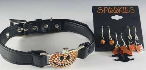 Halloween Black Collar Choker Necklace Jack O Lantern Rhinestone Earrings Lot 🎃