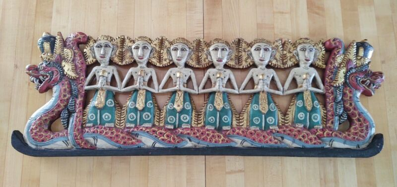 Vintage Indonesian Hand Carved Painted Dragon Boat Wood Sculpture Balinese