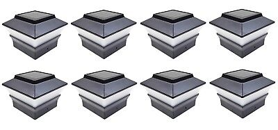 8 Black 4 x 4 Solar Post Deck Cap Fence Light PVC Vinyl or Plastic Post 244BX8 ()
