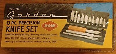 GORDON 13 PIECE PRECISION KNIFE SET NEW IN ORIGINAL PACKAGE W, CASE & 3 HANDLES