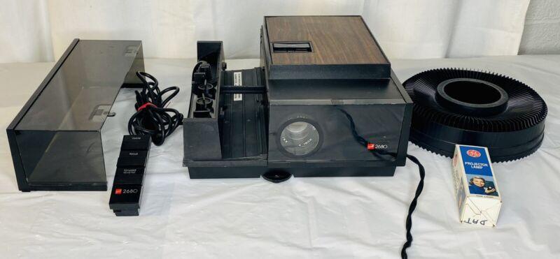 Gaf 2680 35mm Slide Film Projector Vintage Remote and Power Cord Tested Works!!
