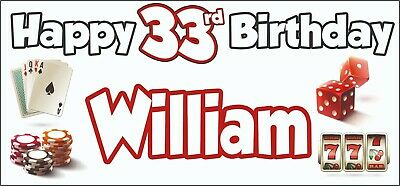 Gambling Casino Themed Adult 33rd Birthday Banner x2 Party Decorations ANY NAME (Birthday Themes Adults)