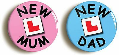 2 x new mum new dad l-plate badge button pins (1inch/25mm diameter) baby gift