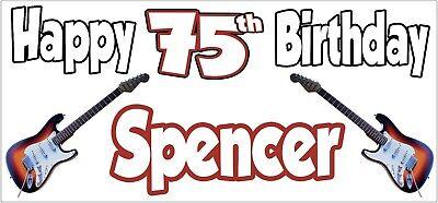 Guitarra Eléctrica 75th Pancarta de Cumpleaños X2 Decoración Fiesta Hombre Mujer