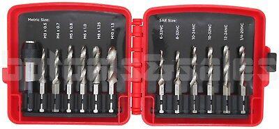 13pc Combination Drill & Tap Bit Set w/ Quick Change Adapter 1/4