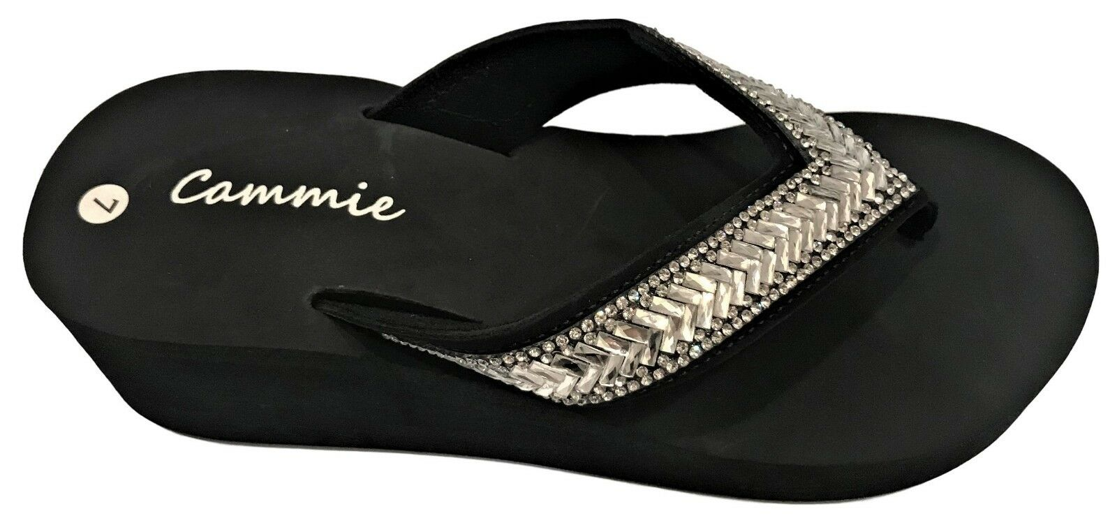 Women Platform High Wedge Heel Rhinestone Slides Flip Flops