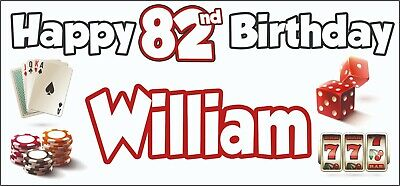 Gambling Casino Themed Adult 82nd Birthday Banner x2 Party Decorations ANY NAME](Casino Themed Birthday Party)