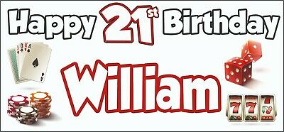 Gambling Casino Themed Adult 21st Birthday Banner x2 Party Decorations ANY NAME](Casino Themed Birthday Party)