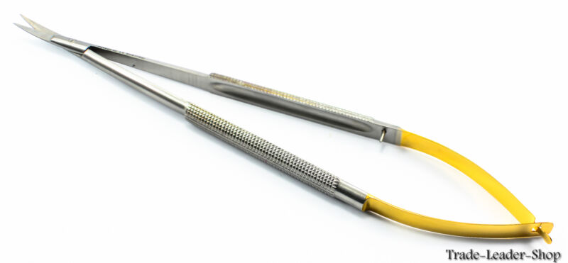 Castroviejo Micro Scissor 14 cm curved scissors TC gold suture NATRA Germany