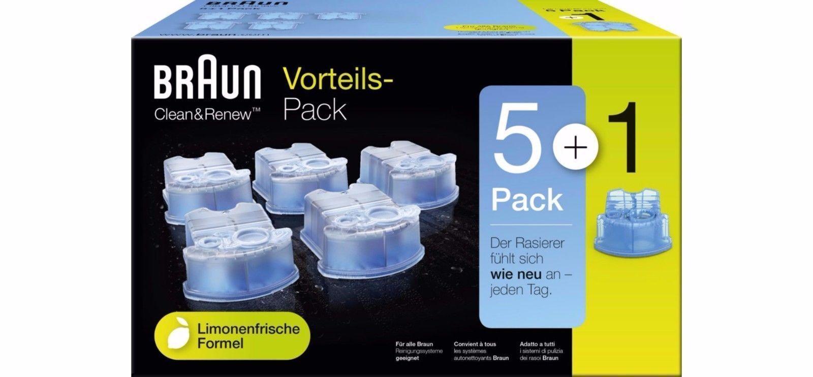 Braun CCR 5+1 Clean&Renew Reinigungskartusche [6er-Pack] für Series 3-9 Rasierer