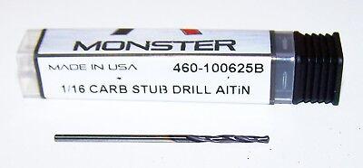 116 .0625 Solid Carbide Stub Drill - Altin Coated - 460-100625b