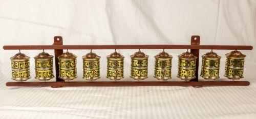 Tibetan Buddhist Handcrafted Spinning Prayer 10 Wheels Wall Hanging Design
