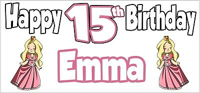 Princess 15th Birthday Banner x2 - Party Decorations - Personalised ANY NAME - Princess Birthday Banner