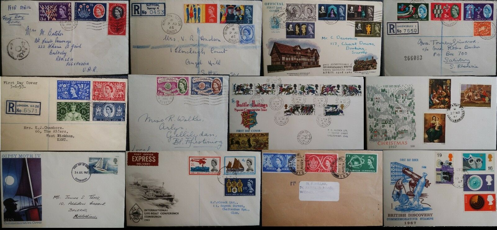 GB QEII FDC 1953 - 1967 Pre Decimal Commemorative Registered Plain many @ 99p