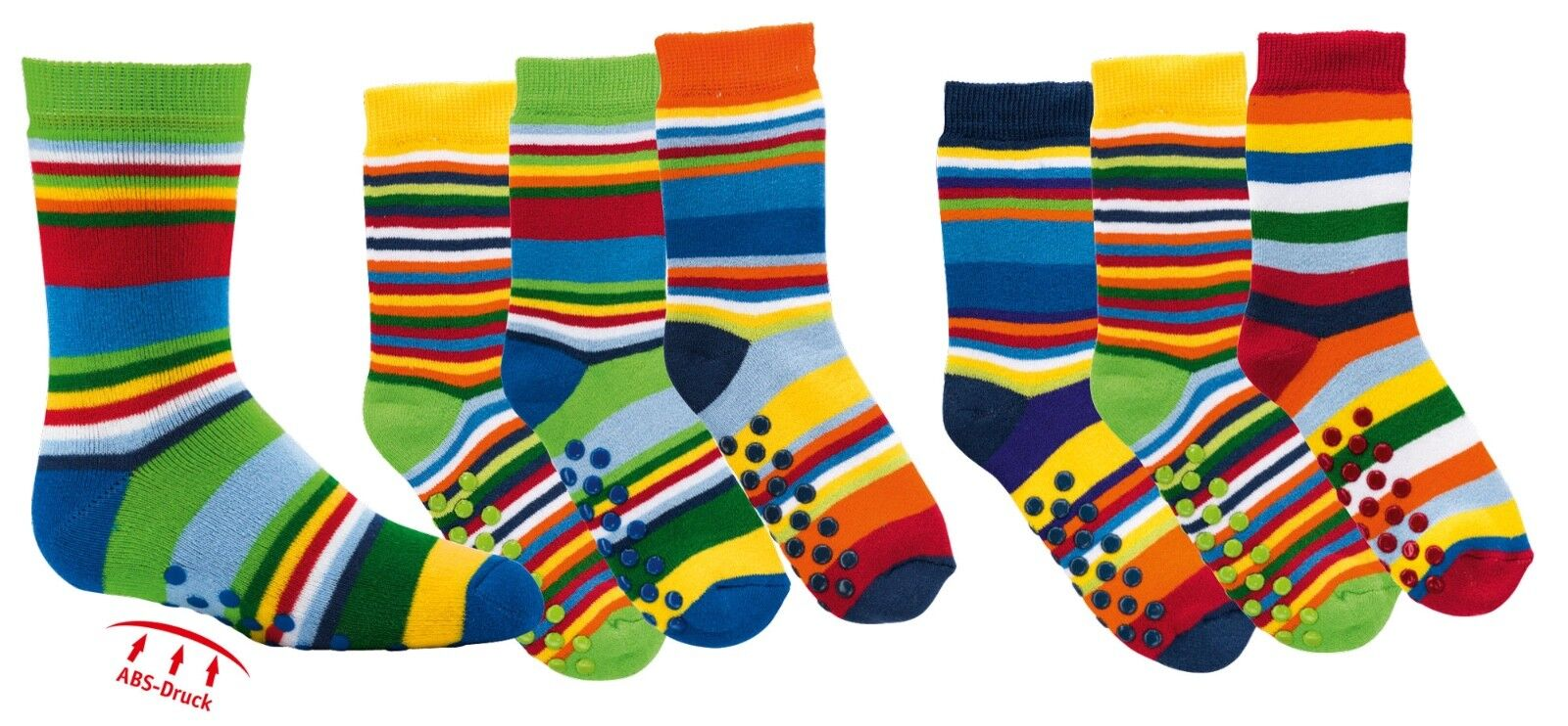 3 Paar Kinder ABS Stopper-Socken lustige Fliesenflitzer bunte Ringel 23 - 38 Neu