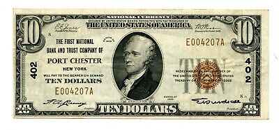 C12166- 1929 $10 NATIONAL BANKNOTE BANK & TRUST COMPANY OF PORT CHESTER, NY - VF