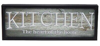 Kitchen Sign Decor (Kitchen Heart of Home Farmhouse Sign Shelf Sitter Rustic Wall Art Decor)
