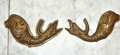Antique Pair French Bronze Griffin Bird Decorative Trim Mounts