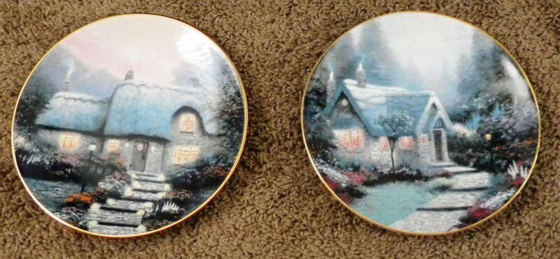 Thomas Kinkade Plates Two Knowles Cedar Nook & Candlelit Cottage 1991
