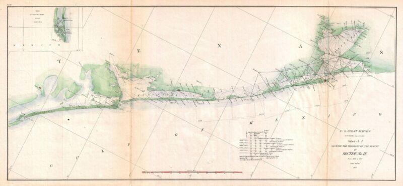 1857 Coastal map Nautical Chart Triangulation Matagorda Bay to Galveston Texas