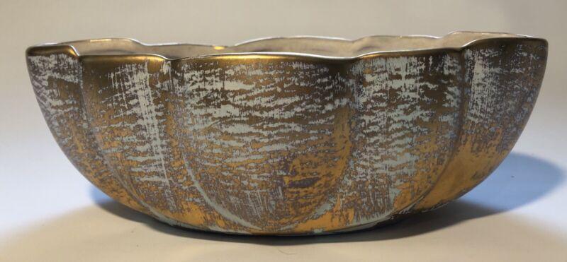 Vintage Stangl Art Pottery Antique Gold Oval Console Centerpiece Bowl
