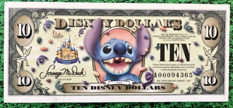 2005 Disney Dollar $10.00 Stitch 50th Anniversary Uncirculated