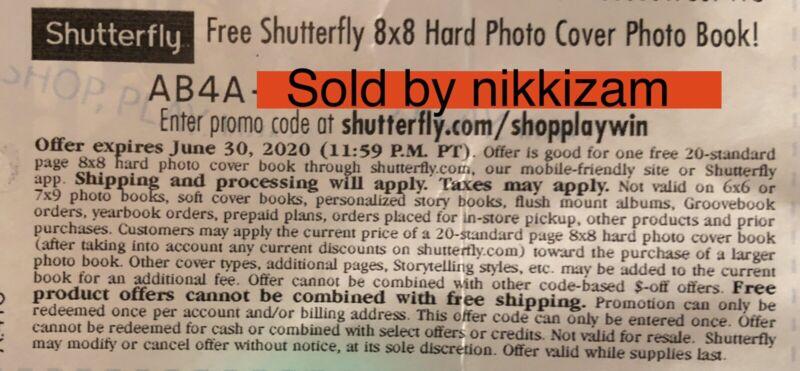 Shutterfly 8x8 Photobook Monopoly Code  Exp 06/30/2020.