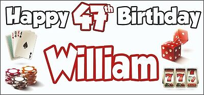 Gambling Casino Themed Adult 47th Birthday Banner x2 Party Decorations ANY NAME