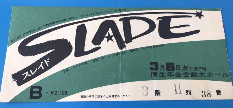 SLADE 1974 Japan Tour Concert Ticket Stub