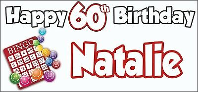Bingo Themed 60th Birthday Banner x2 Party Decorations Mum Nan Dad Wife ANY