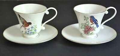 Pickard China 2 Coffee CUP & SAUCER Sets BIRDS FLOWERS Ivory Gold Trim