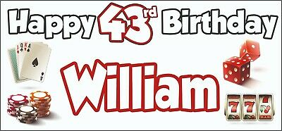 Gambling Casino Themed Adult 43rd Birthday Banner x2 Party Decorations ANY NAME](Casino Themed Birthday Party)