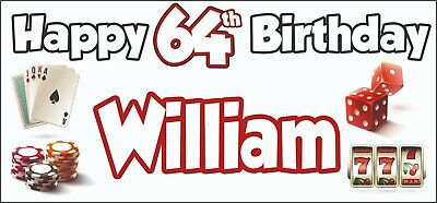 Gambling Casino Themed Adult 64th Birthday Banner x2 Party Decorations ANY NAME