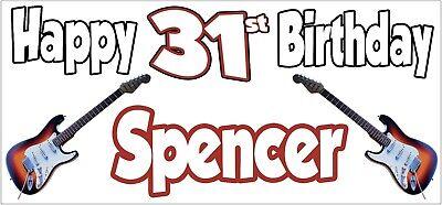 Guitarra Eléctrica 31st Pancarta de Cumpleaños X2 Decoración Fiesta Hombre Mujer
