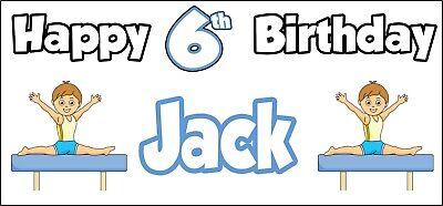 Gymnastics Birthday Party Decorations (Boy Gymnastics Personalised Birthday Banner x 2 Party Decorations - NAME &)