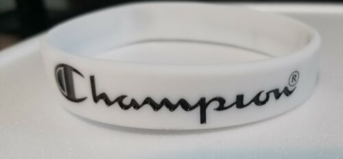 """WHITE with Black Print CHAMPION Silicone Bracelets 5/16"""" Wide - US Seller!!!"""