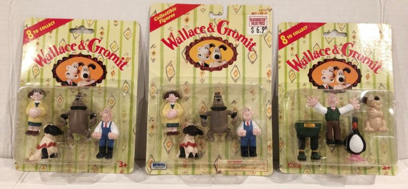 Wallace & Gromit 3 new sets of Collectible Figures 1989  Irwin/Vivid