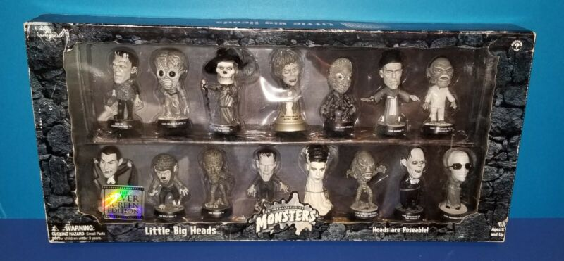 Sideshow Universal Studios Monsters Little Big Heads Silver Screen Ed. in box