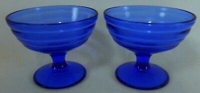 (HAZEL ATLAS Depression Glass MODERNTONE COBALT BLUE Set of 2 Sherbet Champagnes)