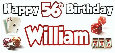 Gambling Casino Themed Adult 56th Birthday Banner x2 Party Decorations ANY NAME