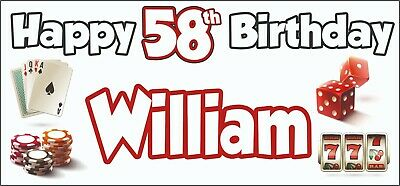 Gambling Casino Themed Adult 58th Birthday Banner x2 Party Decorations ANY NAME](Casino Themed Birthday Party)