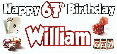 Gambling Casino Themed Adult 67th Birthday Banner x2 Party Decorations ANY NAME](Casino Themed Birthday Party)