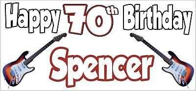 Guitarra Eléctrica 70th Pancarta de Cumpleaños X2 Decoración Fiesta Hombre Mujer