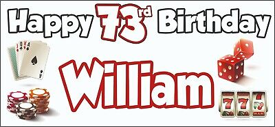 Gambling Casino Themed Adult 73rd Birthday Banner x2 Party Decorations ANY NAME