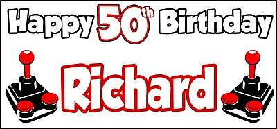 50th Birthday Games (Retro Games Gaming 50th Birthday Banner x2 Party Decorations Men Ladies ANY)
