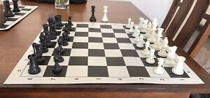 Staunton Tournament Chess Set with Weighted Chessmen Bag and Roll-Up Vinyl Board