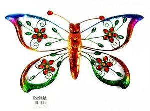 Großer Schmetterling aus Metall mit bunten Kristallen Wanddeko Gartendeko Garten