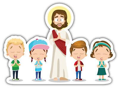 Jesus Christ And Children Praying Together Religion Car Bumper Sticker