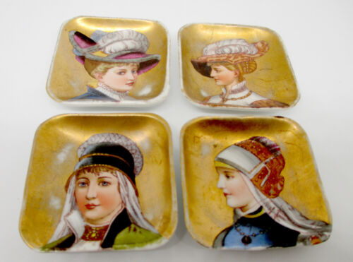 Antique Portrait Butter Pats LOT of 4 Victorian 1890s Fashion Hand Painted
